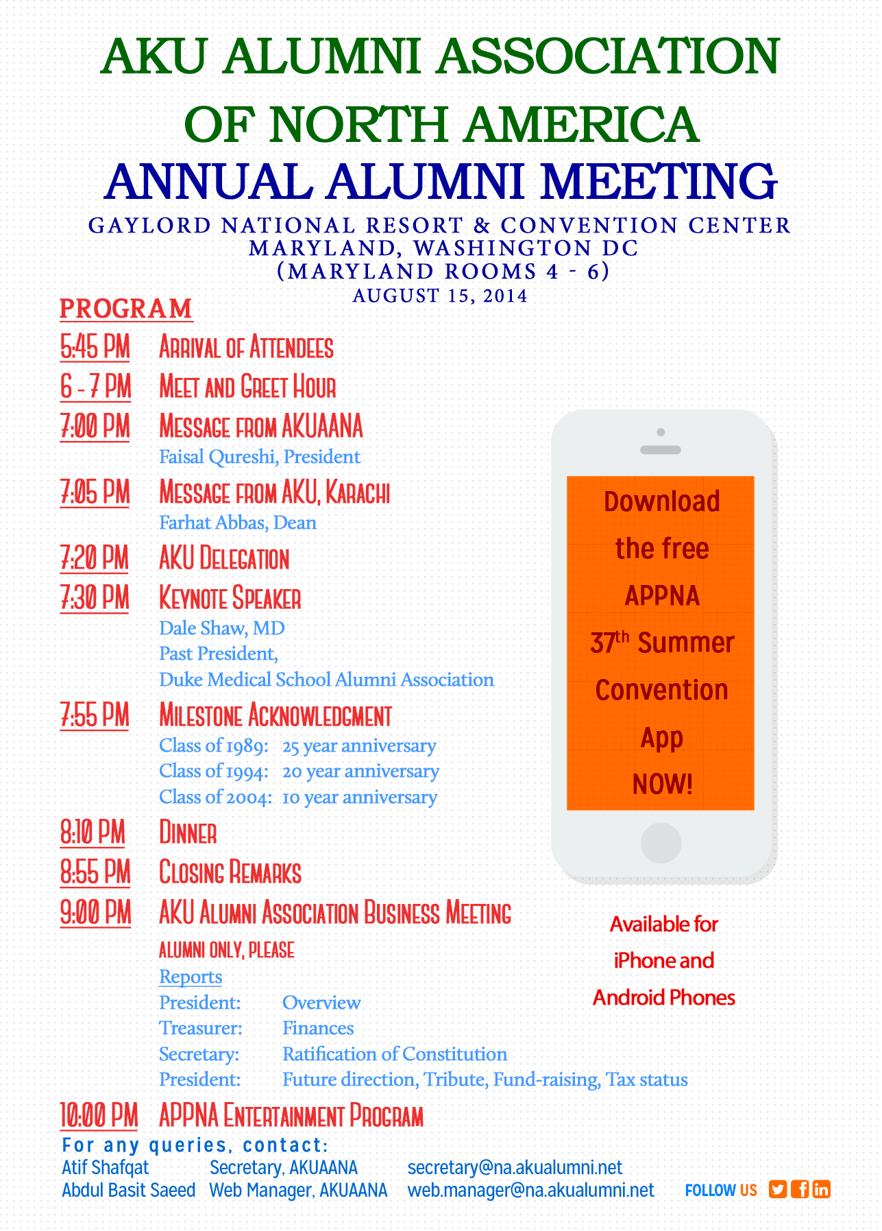 AKUAANA Annual Meeting, 2014 - Flyer