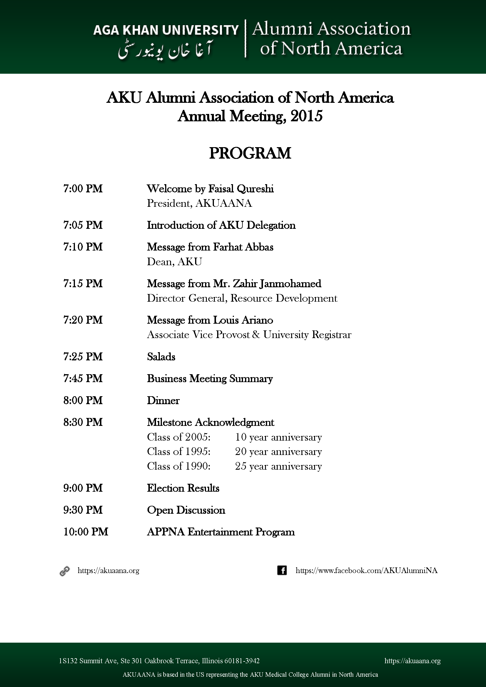 AKUAANA Annual Meeting Program, 2015